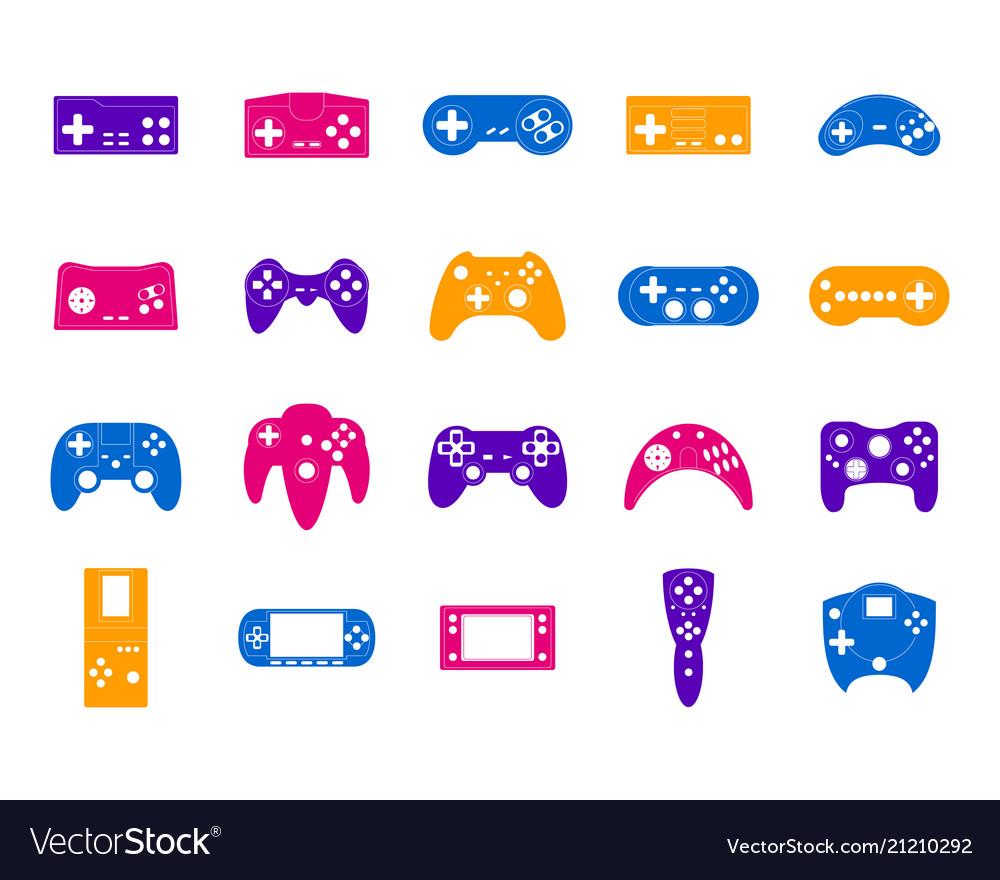 Cartoon color gamepad icon set