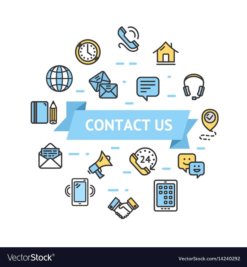 Contact us icon round design template thin line