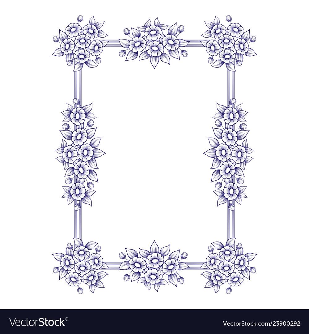 Daisy flowers rectangle frame
