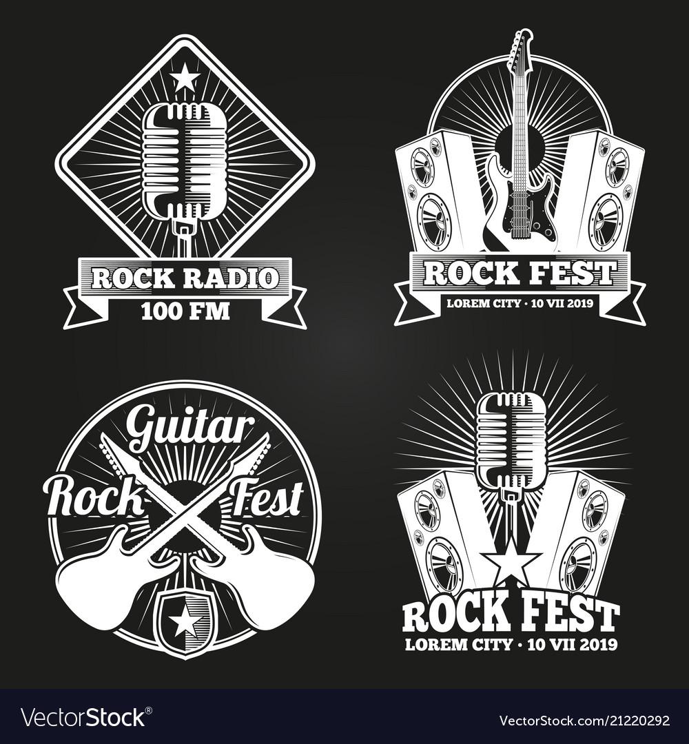 Music festival banners set rock music fest
