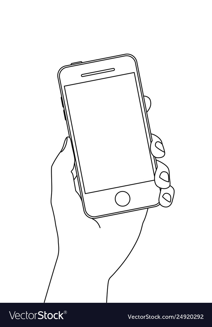 Single line drawing a hand holding a smartphone