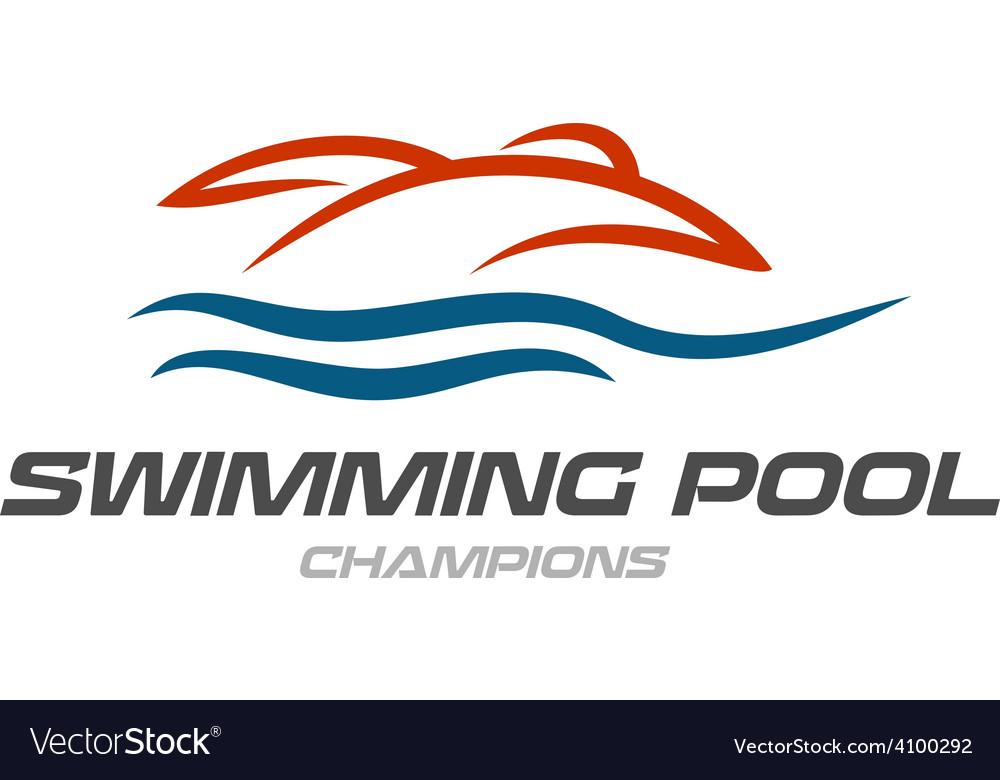 Swimming pool logo template