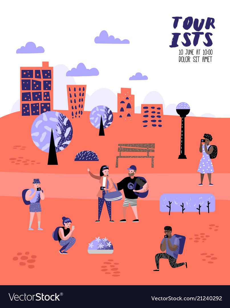 Traveling people in trip poster banner brochure