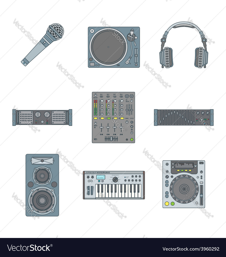 Various color outline sound devices icons set vector image