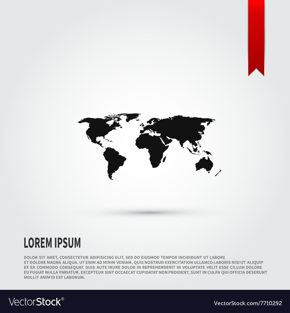 World map icon Flat design style Template for