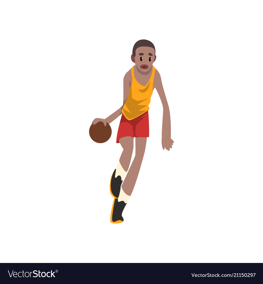 Basketball player moving dribble athlete in