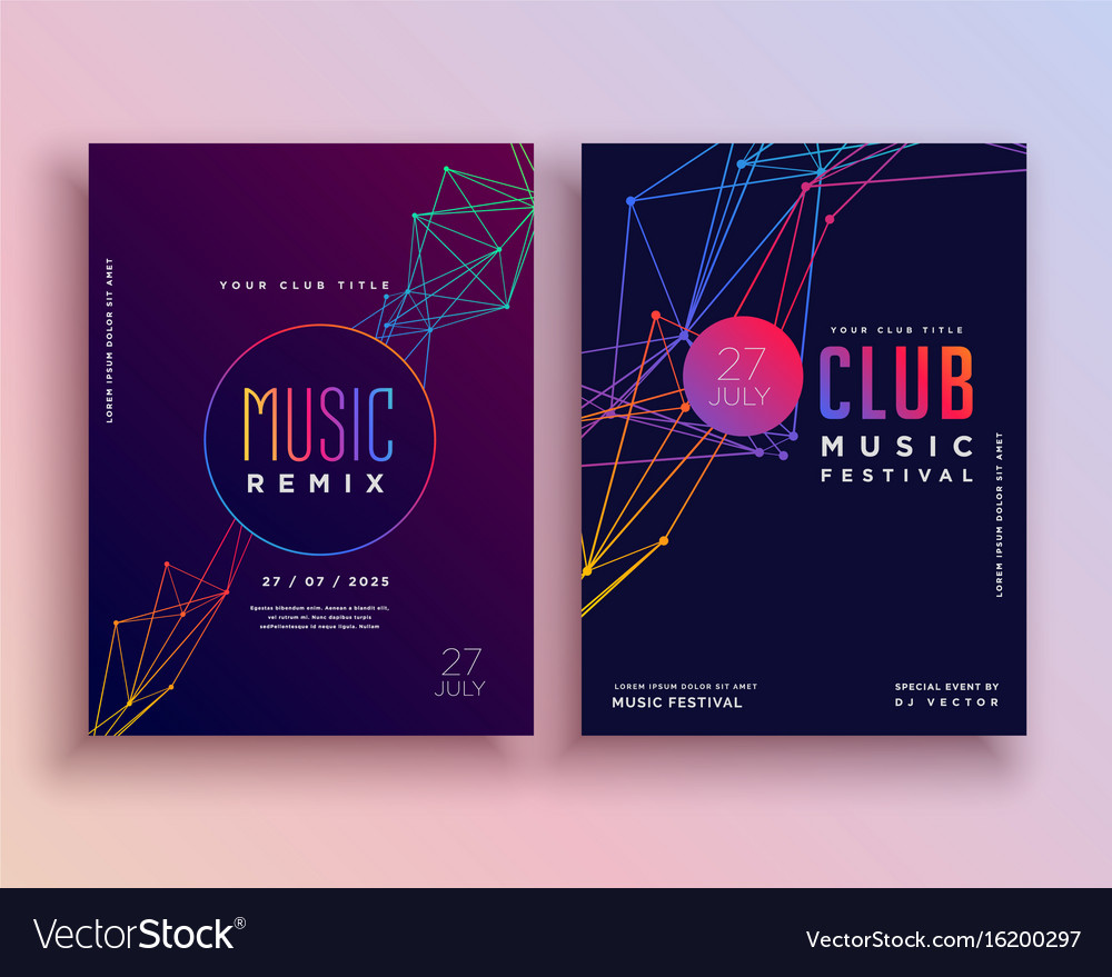 Club Music Party Flyer Template Design Royalty Free Vector