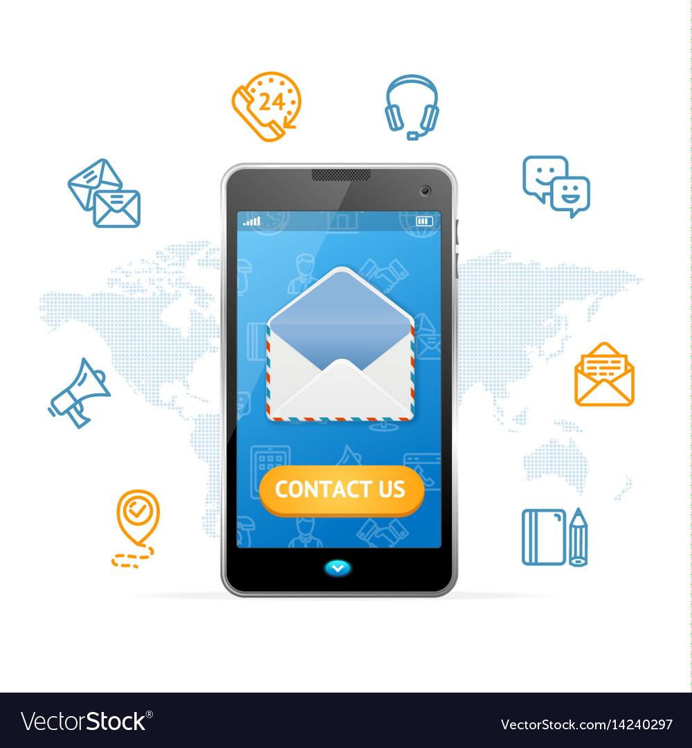 Contact us web design online concept mobile phone