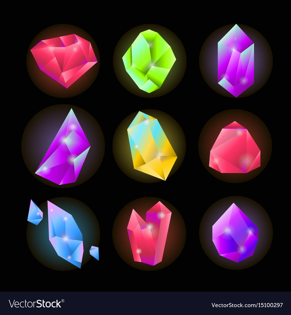 Crystals or gemstones and precious gem stones vector image