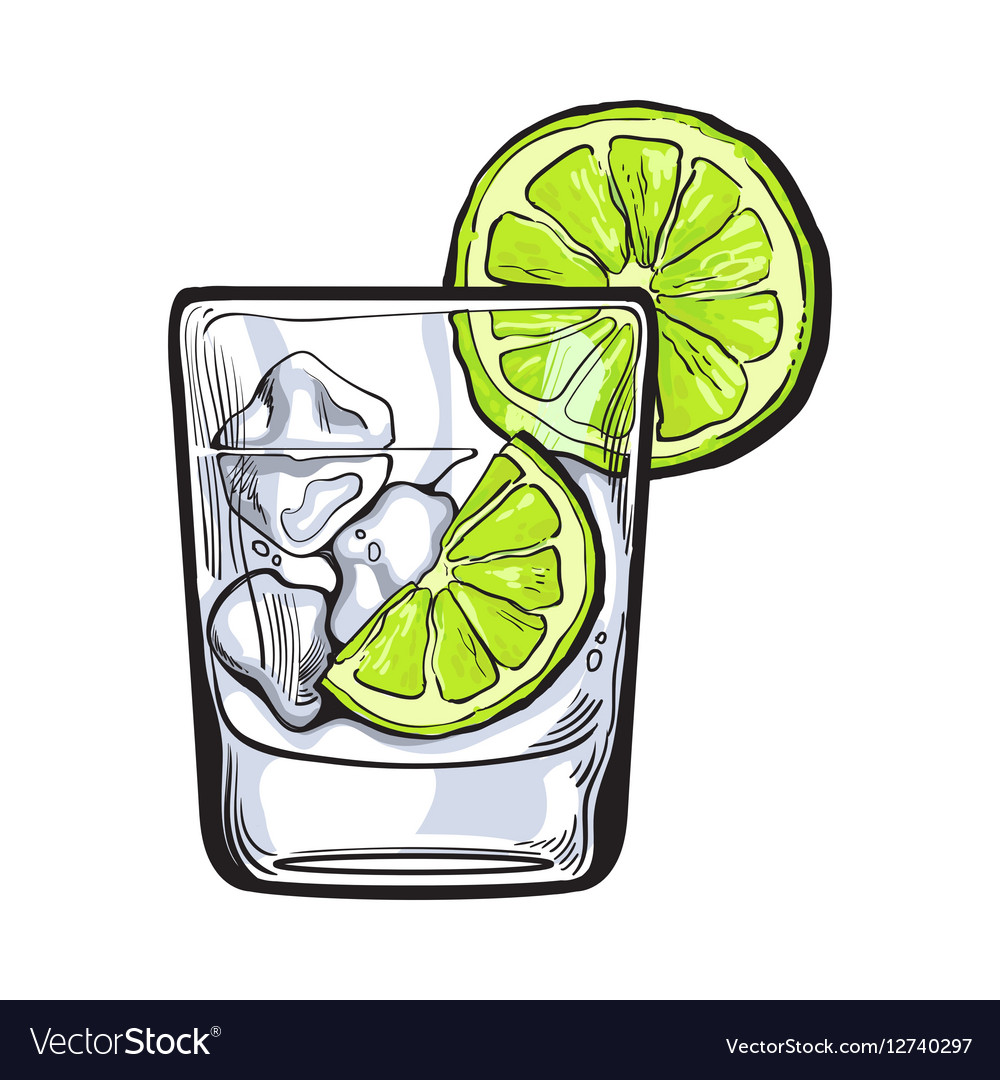 Glass of gin vodka soda water with ice and lime