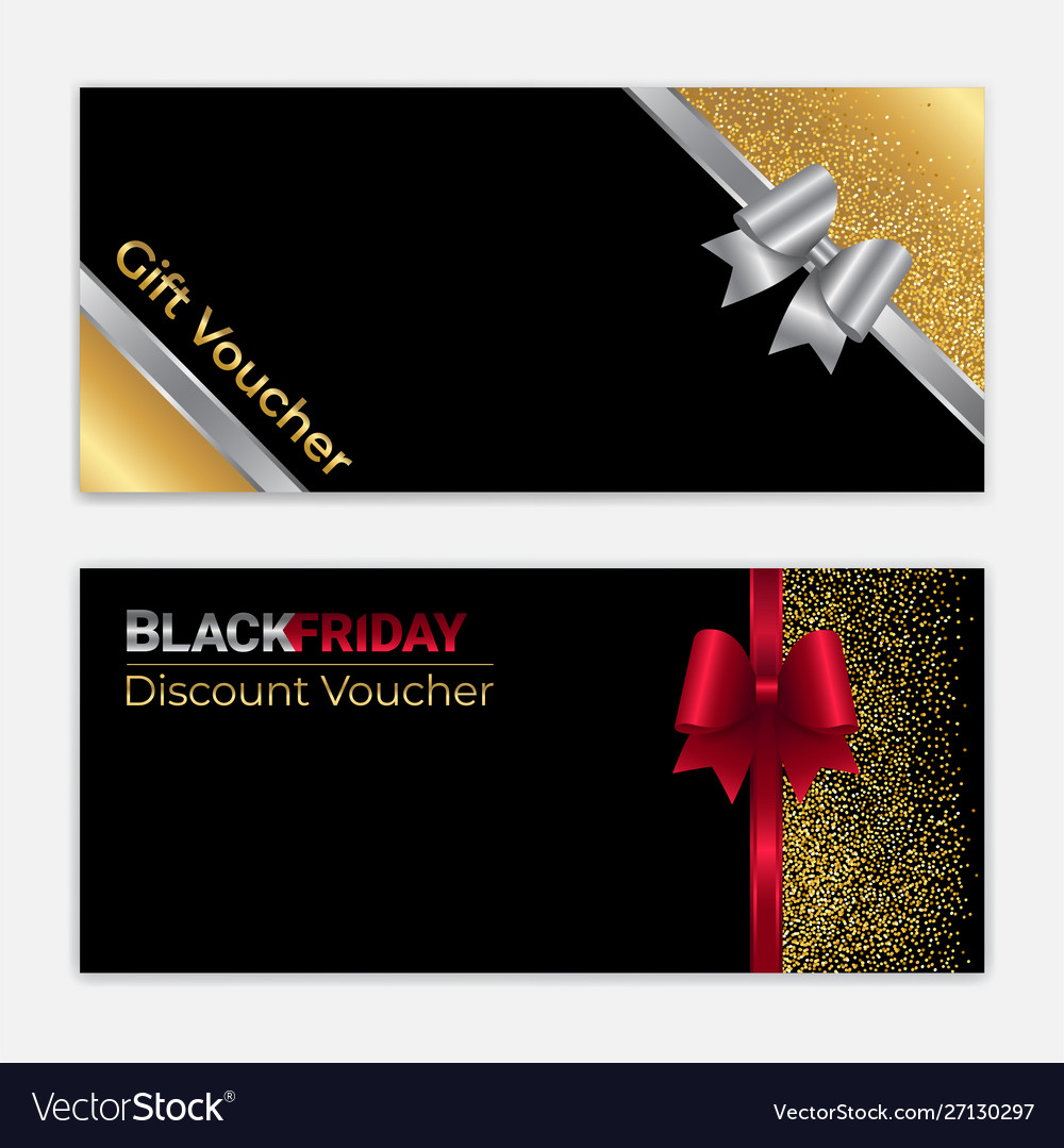 Gold glitter gift voucher certificate coupon for