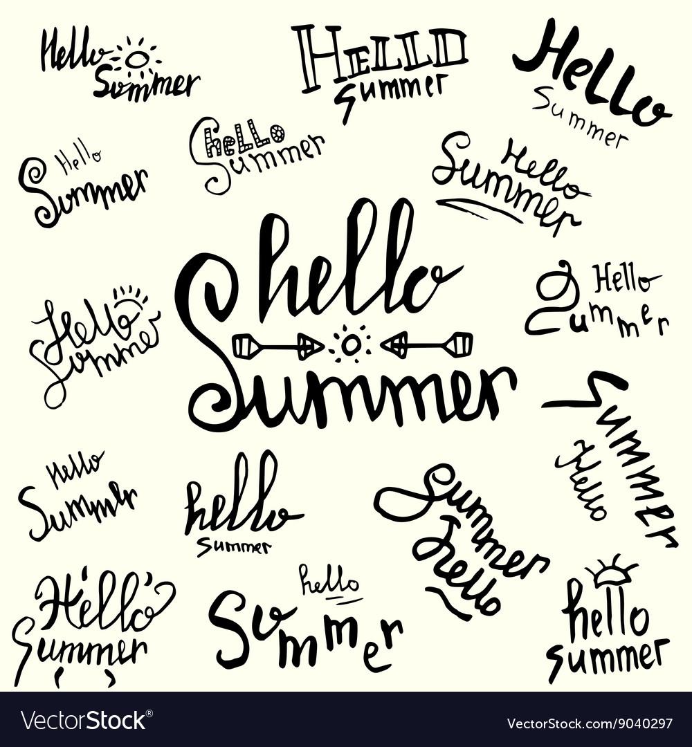 Inscription hello summer handwritten lettering