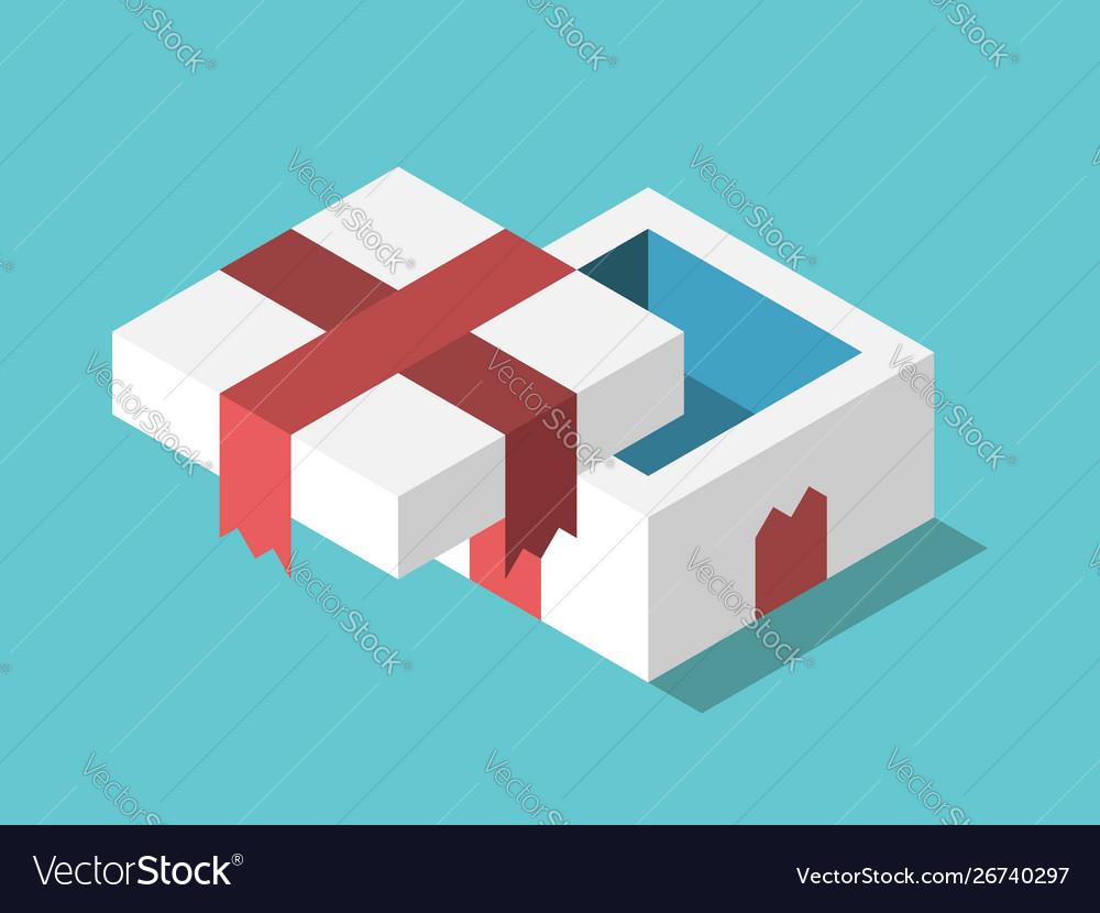 Isometric empty gift box