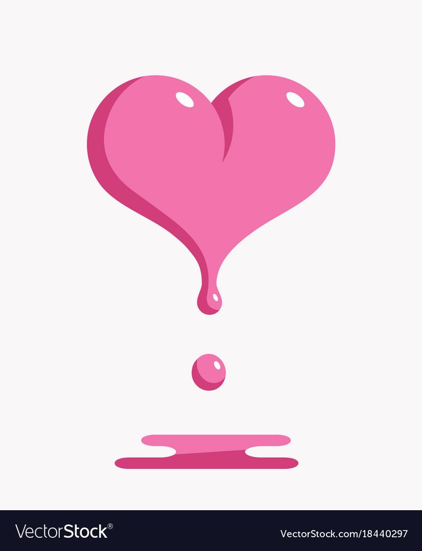 Melting pink heart vector image