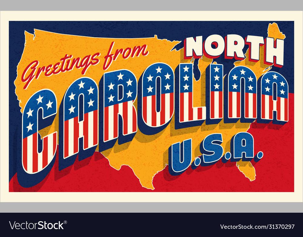 North carolina july 4th retro postcard