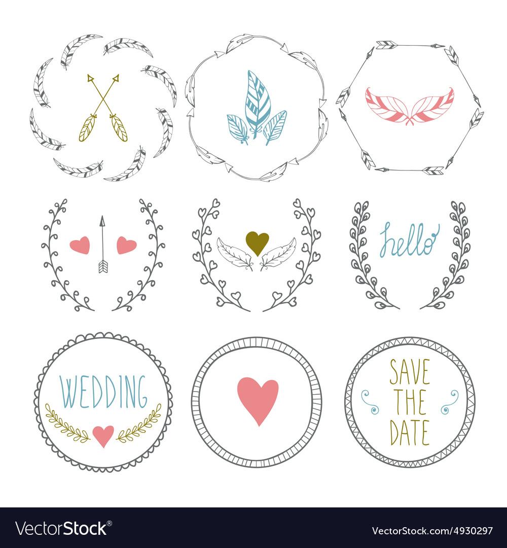 Set of hand drawn frames with wedding decorative