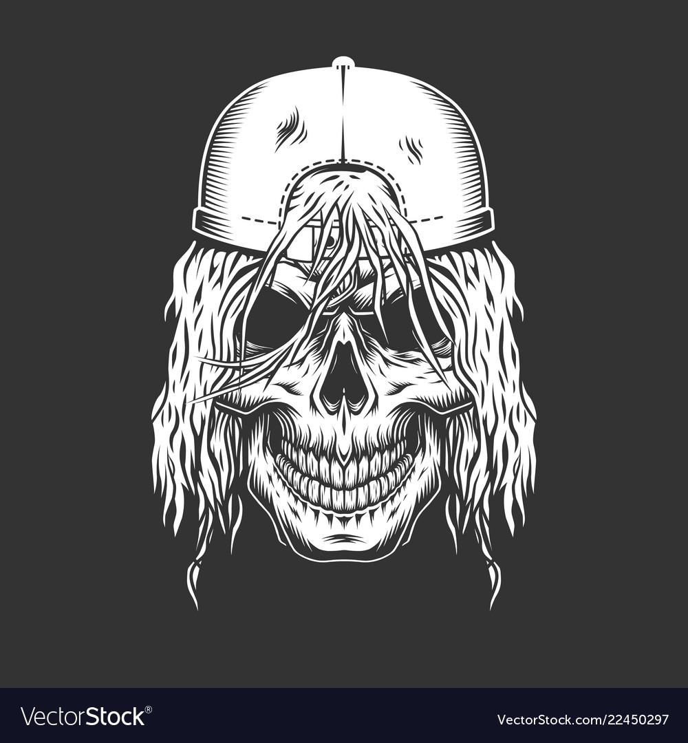 Vintage monochrome skateboarder skull