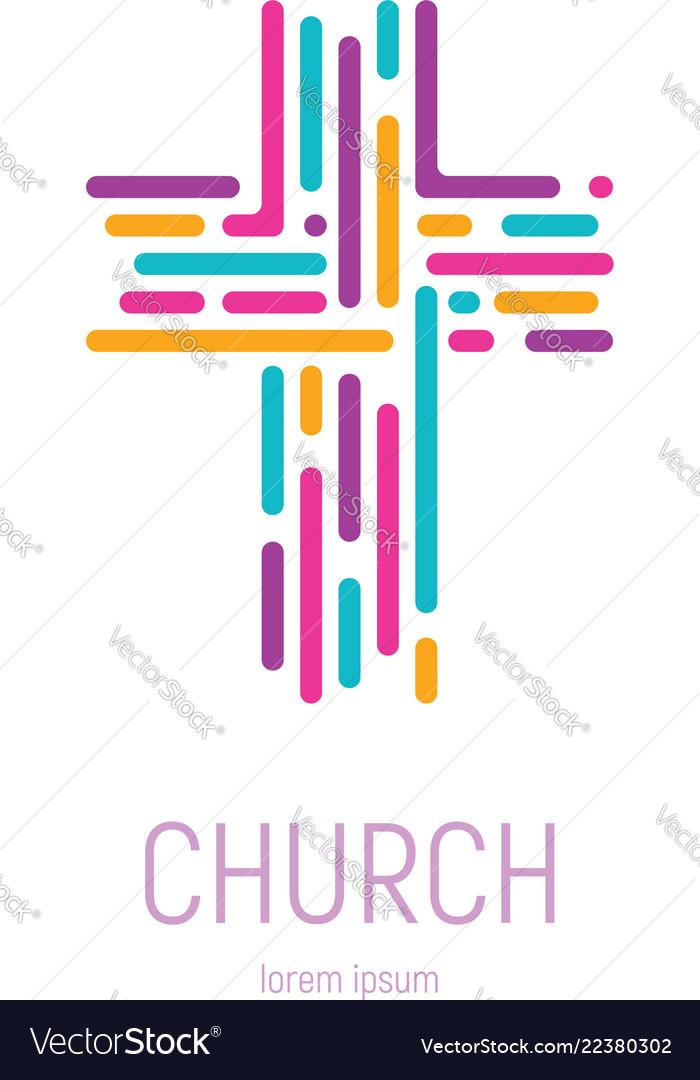 Abstract christian cross logo template