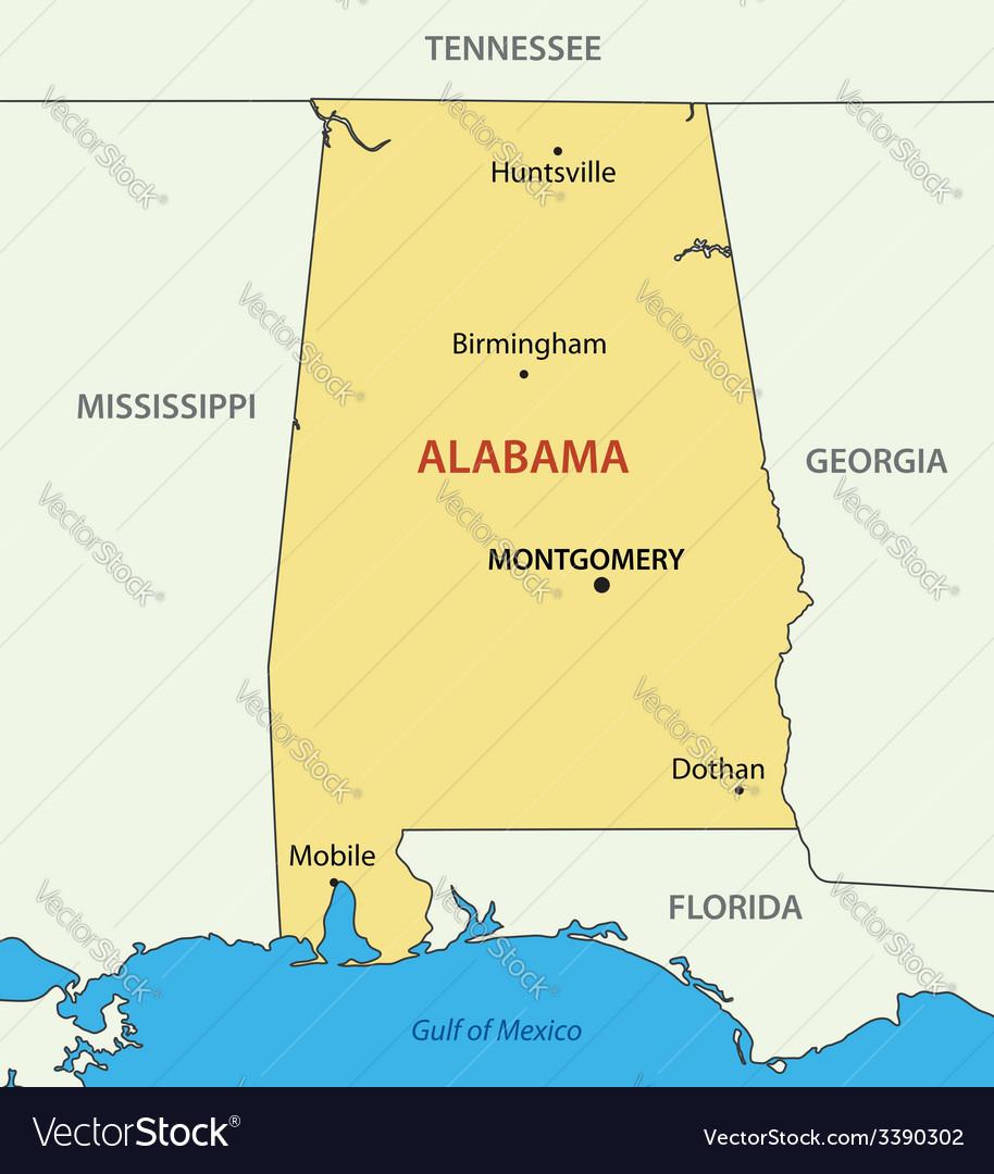 Florida Alabama Map.Alabama Map Royalty Free Vector Image Vectorstock