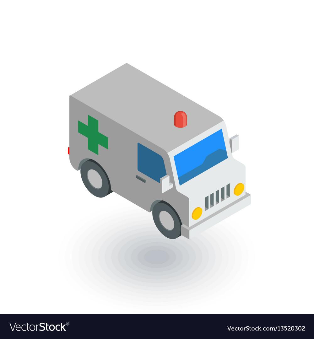 Ambulance medical car isometric flat icon 3d vector image
