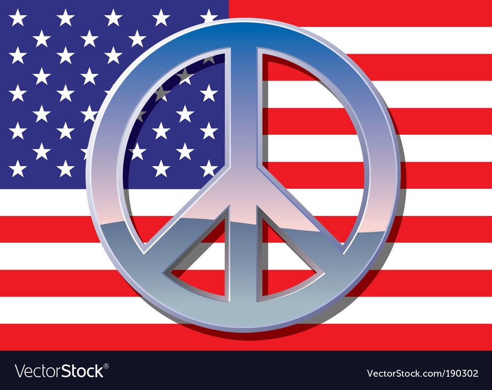 American flag with peace sign vector image