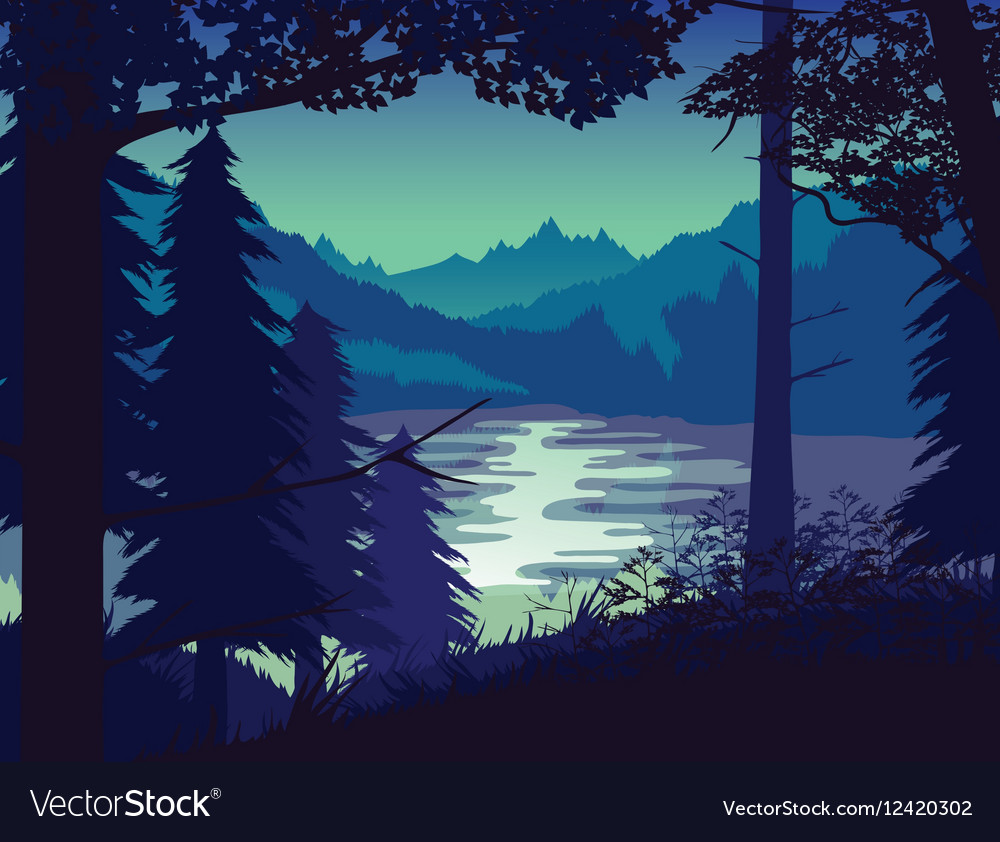 Background of landscape with river forest and