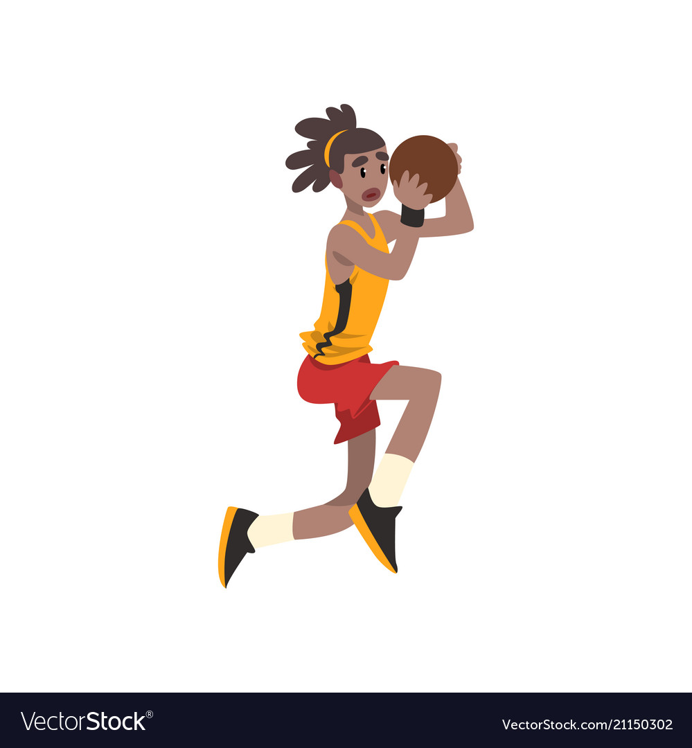 Basketball player in uniform playing with ball