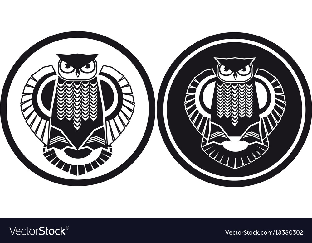 Black and white owl stylised view
