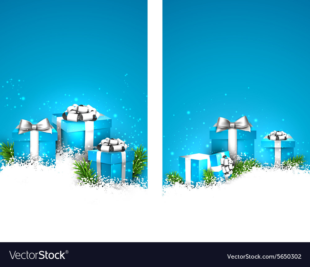 Blue christmas banners with gift boxes