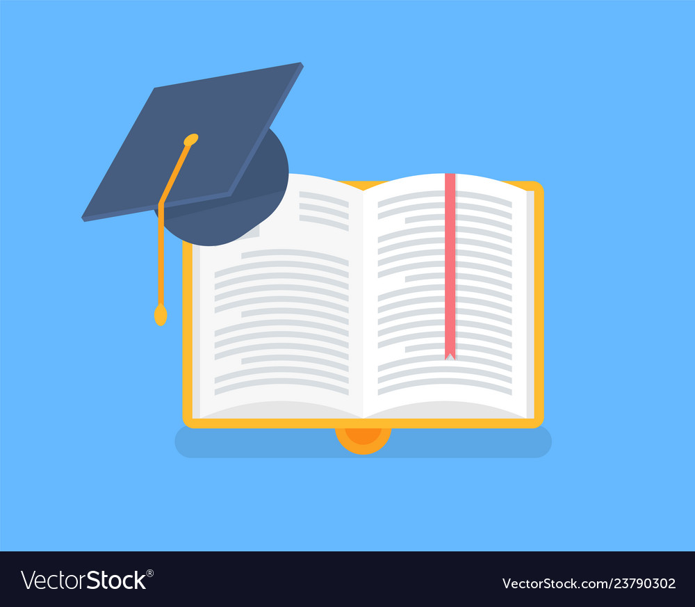 Book in yellow cover with academic cap