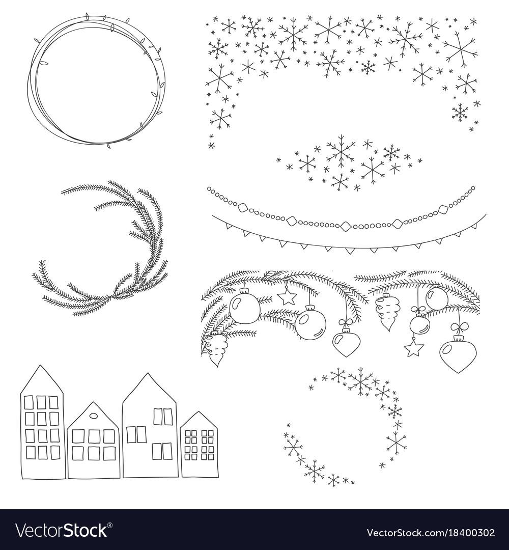 Christmas hand drawn borders and wreaths