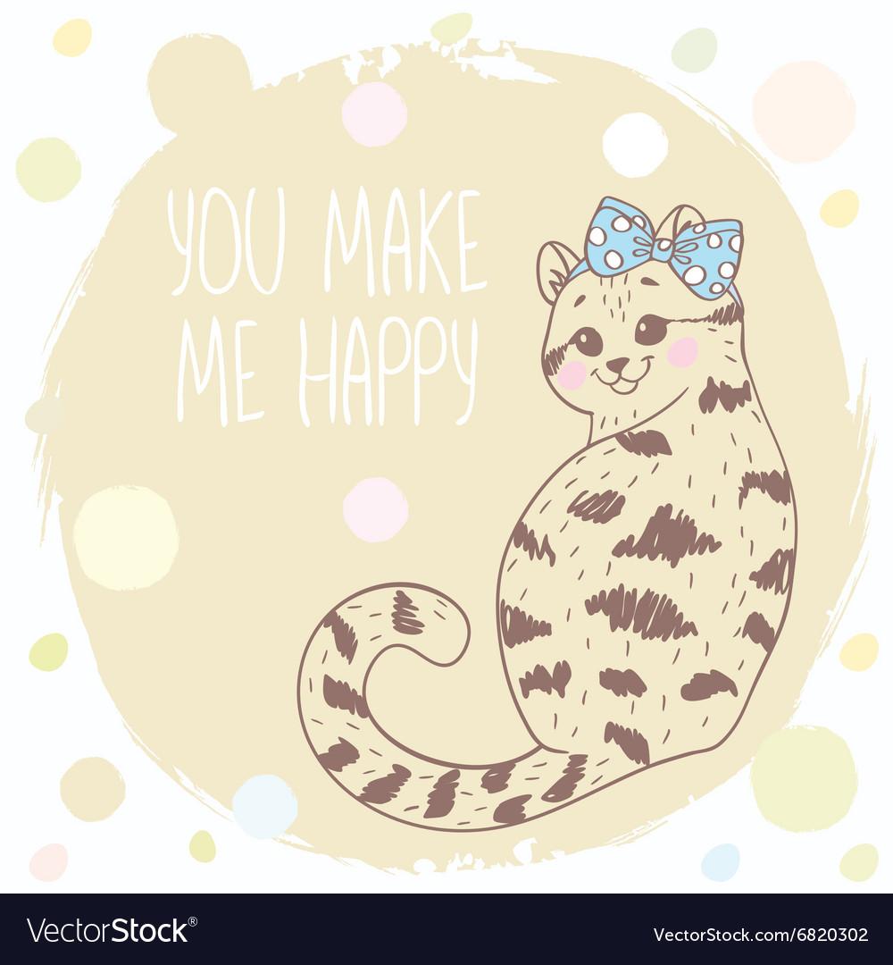 Cute kitten doodle vector image