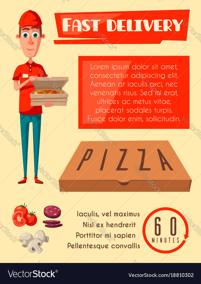 Flat poster for pizza fast food delivery