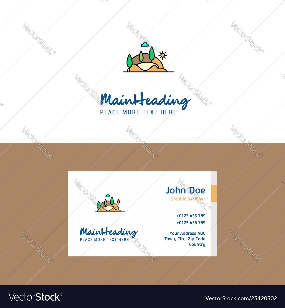 Flat scenery logo and visiting card template