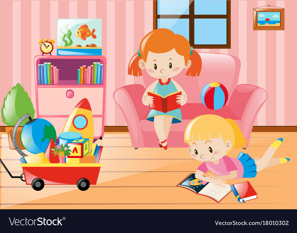Girls reading books in living room Royalty Free Vector Image