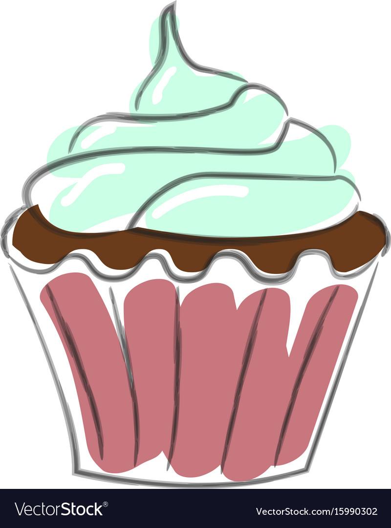 hand drawn cupcake royalty free vector image vectorstock rh vectorstock com cake vectors cupcake factory blog