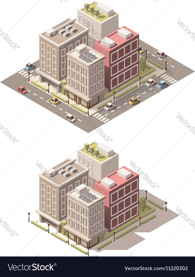Isometric low poly town street