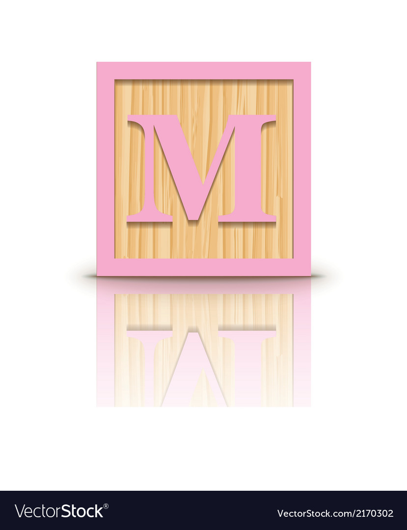 Letter M wooden alphabet block