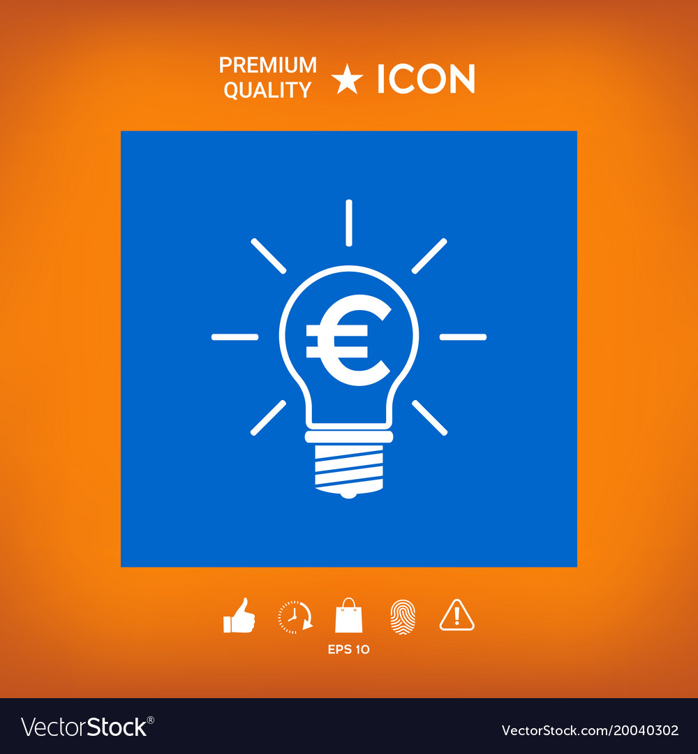 Light bulb with euro symbol business concept