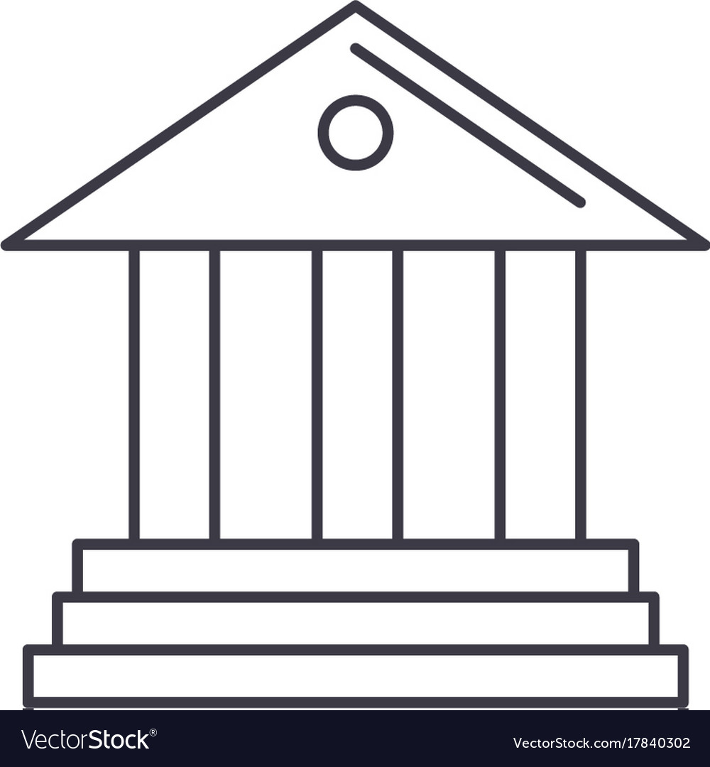 Museumbank line icon sign vector image