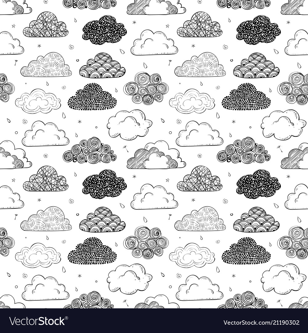 Seamless background with black doodle clouds