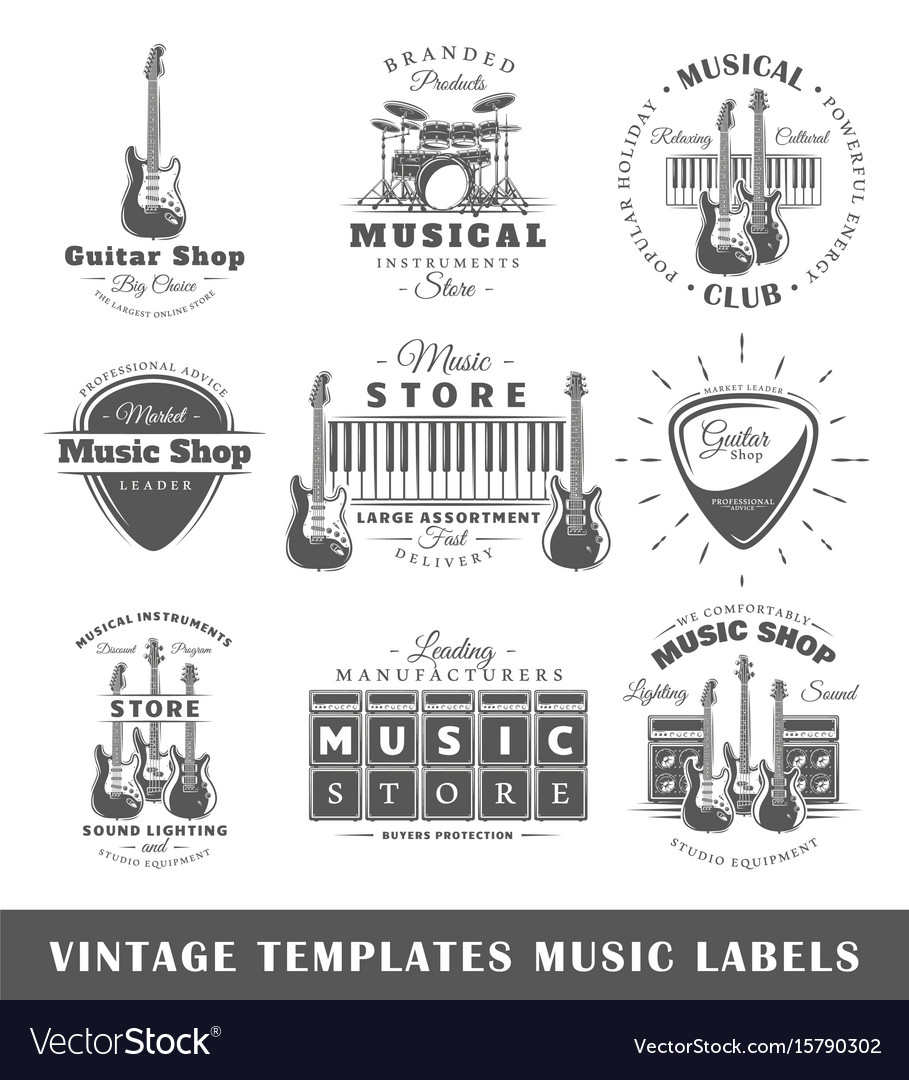 Set of vintage musical labels templates Royalty Free Vector