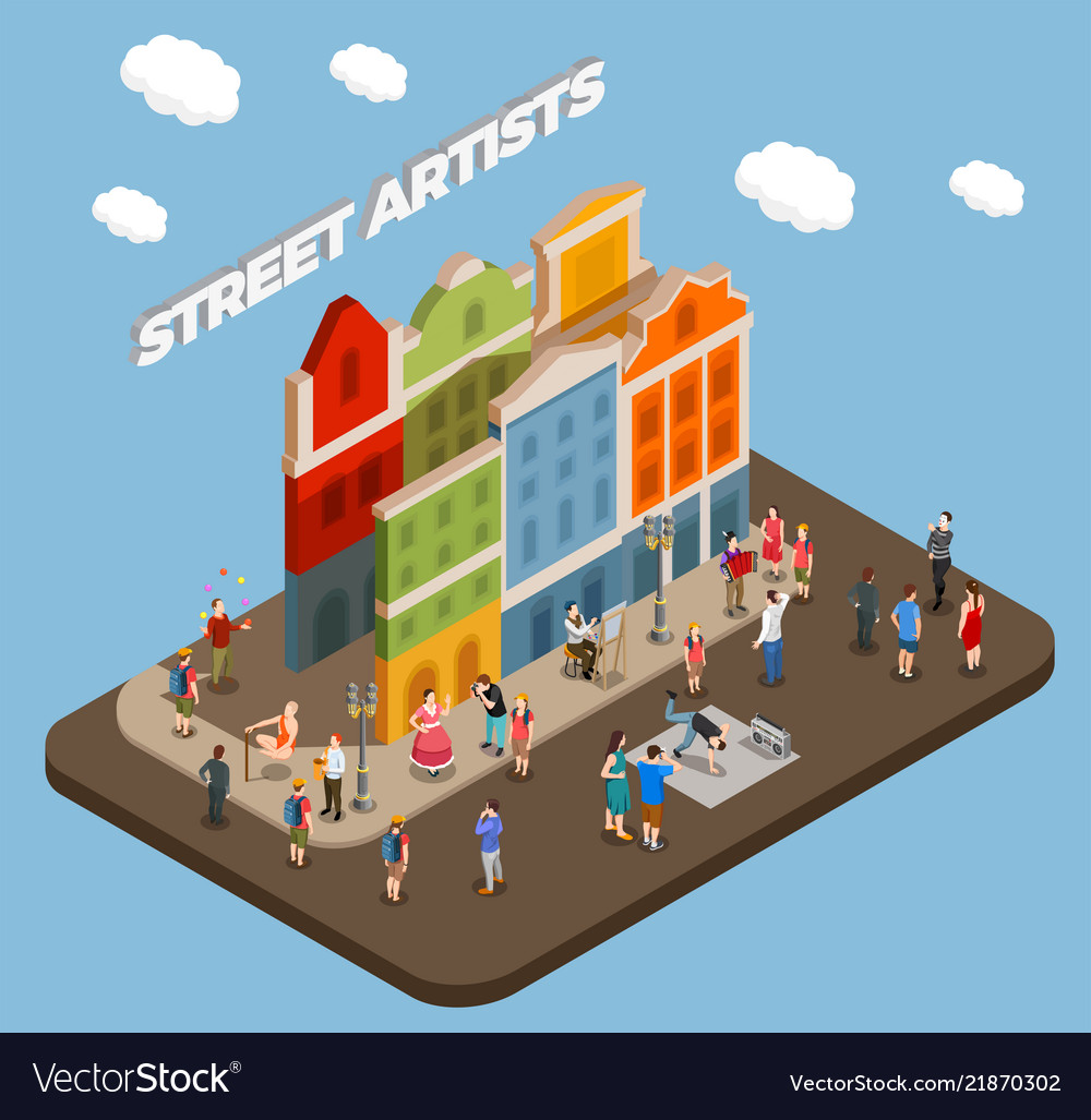 Street artists isometric composition