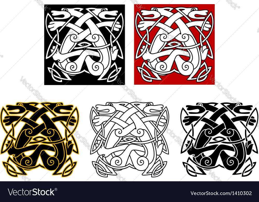 Tribal wolves in celtic style vector image