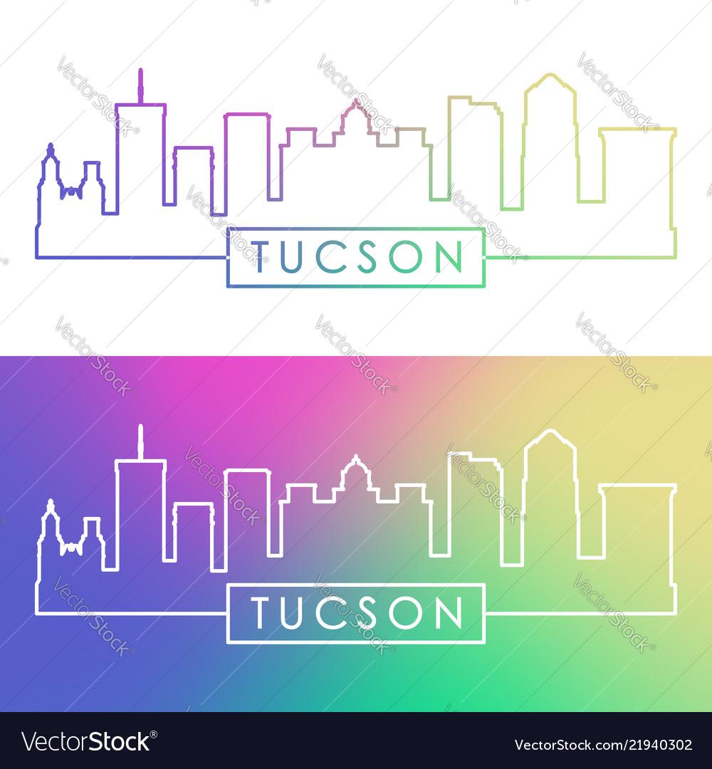 Tucson skyline colorful linear style editable