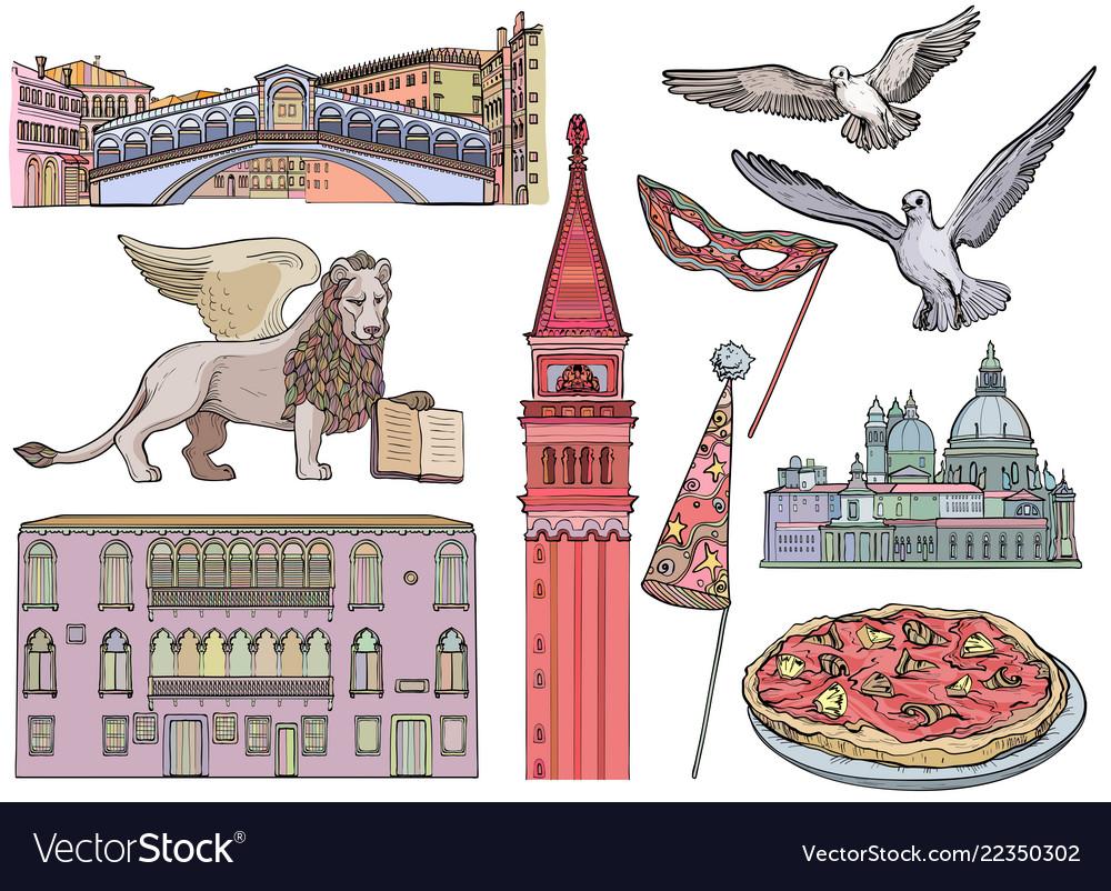 Venice tourist attractions sketch set