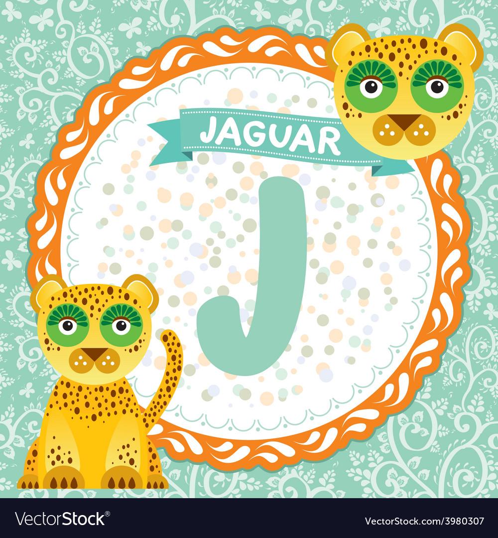 ABC animals J is jaguar Childrens english alphabet