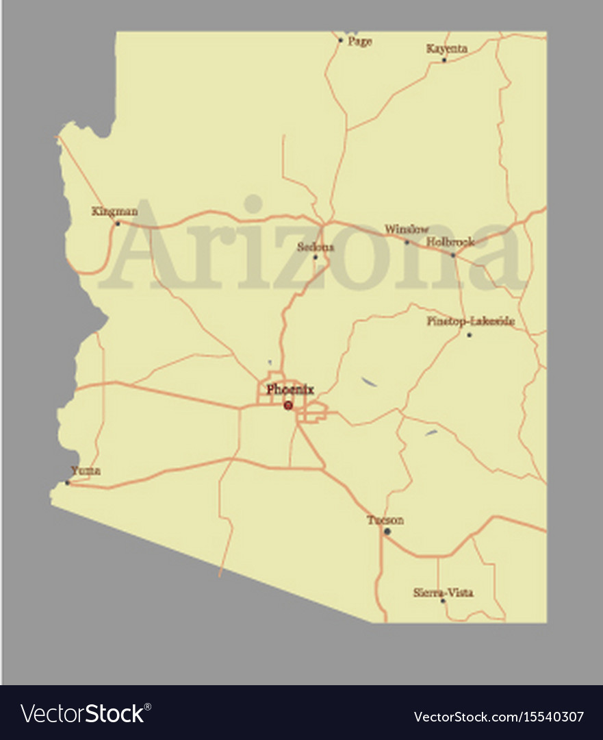 Arizona State Map Free.Arizona State Map With Community Assistance Vector Image
