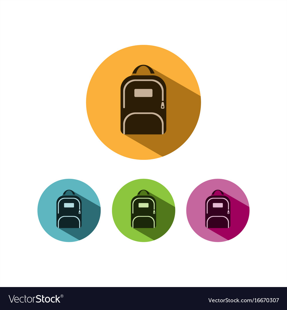 Backpack icon with shadow on colored circles