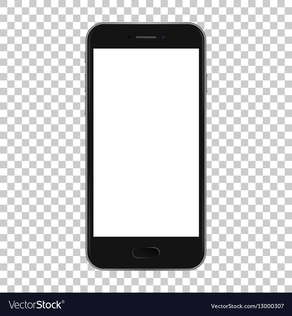 Black smart phone isolated on transparent